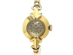 Used Omega Round Antique Yg Yellow Gold Purity Rare 18kyg Ygp Hand-wound Silver