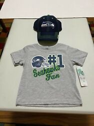 Nwt Items - Seattle Seahawks 1 Fan Toddler T-shirt 2t And Youth Adjustable Hat