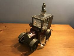 Vintage Metal 1918 Ford Model T Music Box Liquor Decanter With 2 Shot Glasses