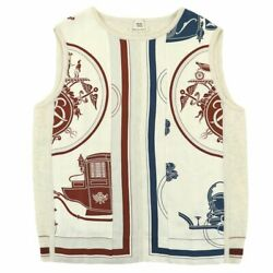 Hermes 16ss Carriage Handle Silk Switching Cashmere Knit Vest Women Off-white