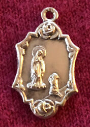 Antique Catholic Religious Holy Medal / Sterling / Our Lady Of Bannuex / Floral