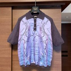 Made In Italy Hermes Cashmere Mixed Silk Knit Shirt Size Me