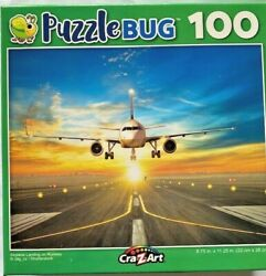 New Sealed Airplane Landing On Runway 100pc Puzzle 9x11 Sun Lights