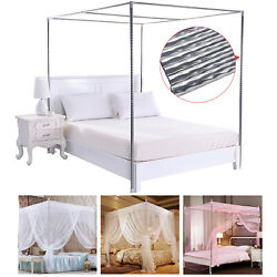 Stainless Steel Bed Mosquito Netting Canopy Frame Post Twin Full Queen King Size