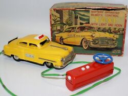 Vintage Tin Battery Op Remote Control Yellow Cab Taxi, Linemar, Japan / Marx