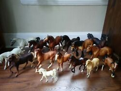 Lot Of 15 Different Breyer Horses White Brown Black Small And Large