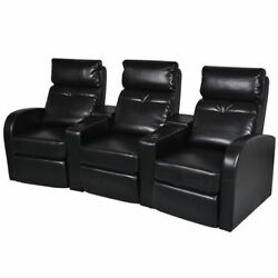 Vidaxl 3-seater Home Theater Recliner Sofa Black Faux Leather Padded Sofa Chair
