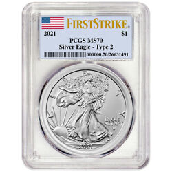 2021 American Silver Eagle Type 2 - Pcgs Ms70 - First Strike