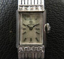 Omega Cal.482 Hand-wound Wristwatch Women And039s Platinum 10p Diamond Pt900 10point