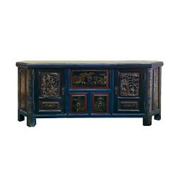 Distressed Brown Golden People Scenery Motif Tv Console Table Cabinet Cs6158