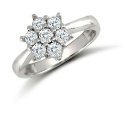 Jewelco London 9ct White Gold Cz 7 Stone Cluster Engagement Ring