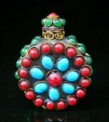 Collectibles Handmade Brass And Ruby And Turquoise And Jade Inlaid Snuff Bottles