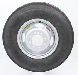 2-pack Radial Trailer Tire On Rim St235/80r16 16 In. Lre 8 Lug Dual Silver Wheel