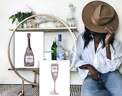 Bar Decor Set Of 2 Moet Champagne+coco Wall Fashion Canvas Bling Kitchen Dining