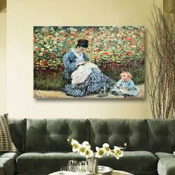 Claude Monet 'mom And Child' Gallery Wrapped Canvas