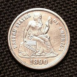 1890 P Seated Liberty Dime - Au Almost Uncirculated