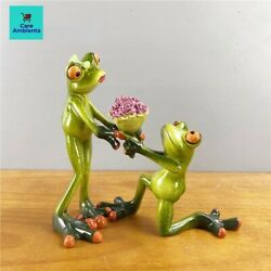Collectible Resin Frog Novelty Loving Couple Figurine Home Desk Décor Gifts 2pcs