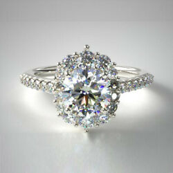 Halo Round Cut 1.00 Ct Real Diamond Engagement Ring 950 Platinum Size Selective