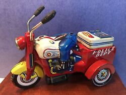 As Is Ko Japan Tin Litho Police Three Wheeler Tricycle Motorcycle, Crank Wind