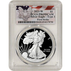2021 W American Silver Eagle Proof - Pcgs Pr69 Dcam First Strike Red Flag Label