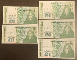 1988 Andpound1 One Pound Central Bank Of Ireland Almost Unc Crisp 5 Banknotes