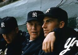 Mickey Mantle 1950's Ny Yankees Dugout Original Color Photo Negative 35mm Rare