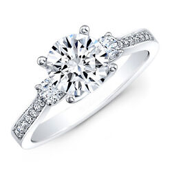 Solitaire Round Cut 1.00 Ct Real Diamond Engagement Ring 950 Platinum Size 4 5 6