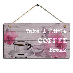Vintage Wood Wall Hanging Sign Coffee Home Decor Sign Kitchen Wall Art Sign