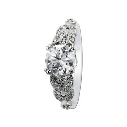 Solid 950 Platinum Round Cut Real Diamond 0.90 Ct Women Engagement Ring Size 4 5