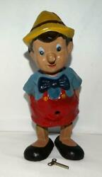 Rare Disney 1939 Hand-painted Composition Pinocchio Wind-up Mechanical Toy+key