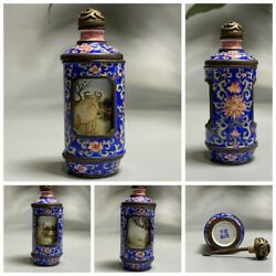 Vintage Antique Bejing Snuff Bottle Painted Chinese Cloisonne Statue Gifts Best