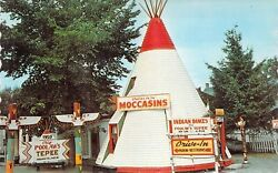 1959 Me Old Town Indian Island Chief Poolaws Gift Shop Penobscot Postcard B98