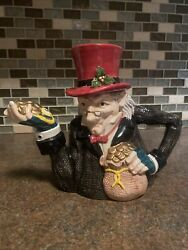 Fitz And And Floyd Christmas Mr. Ebenezer Scrooge Teapot Kettle 1993 23 Oz