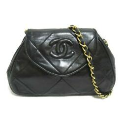Authentic Chain Shoulder Bag Lambskin Leather Black Ghw Used Cc Coco