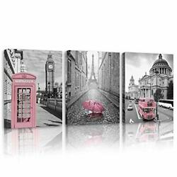 Britimes Canvas Wall Art For Bedroom Living Room Pink City Street View Canvas...