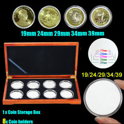 Oak Coin Wood Case Display Box Wooden Storage Collection Holders For 8 Co