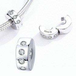 Bisaer Authentic 925 Sterling Silver Stopper Clip Heart Star Charm Clear Cz Bead