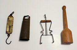 Vintage Antique Kitchen Universal Lot - Scale 1901 Grater Jar Lifter And Masher