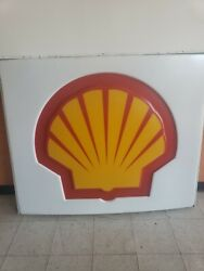 Vintage Shell Oil Gasoline Sign Insert Large 61x52'. Nice Single Sided
