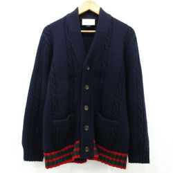 Cable Knit Cardigan With Web Navy Size M
