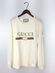 18aw Long Sleeve T-shirt Old Logo Dragon Embroidery Size S White