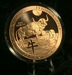 5 Oz. 2021 Year Of The Ox Copper Round Coin Capsule Stand Display Complete