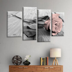 4Pcs Set Pink Grey White Love Rose Floral Wall Art Picture Print Home Decor