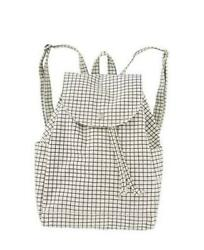 Drawstring Backpack Durable And Stylish For Daily One Size Natural Grid