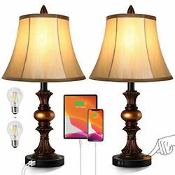 Touch Control Traditional Table Lamp Set Of 2 Vintage Bedside Lamps With Dual