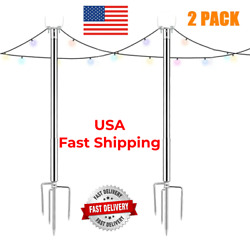 Holiday Styling String Light Pole Outdoor Metal Poles With Hooks For Hanging Str