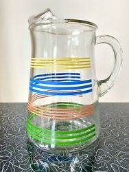 Vintage Rainbow Striped Clear Glass Pitcher With Ice Lip 8 Cups