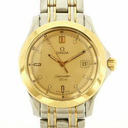 Secondhand Omega Ss Wristwatch 120m Seamaster Silver Gold Mens Fashionable It's