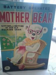 Antique Mother Bear Knitting In Her Rocking Chair