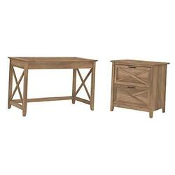 Key West Writing Desk With 2 Drawer Lateral File Cabinet 48w Reclaimed Pine